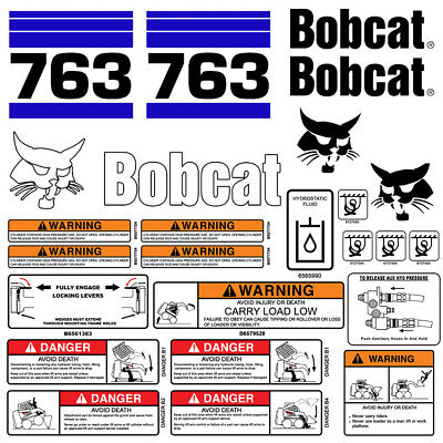 Bobcat 763 V2 Skid Steer Set Vinyl Decal Sticker Bob Cat Made In Usa - 25 Pc Set