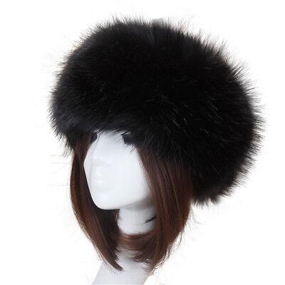 Damen russischen Stil Flauschige Kappe Gefälschte FAUX Pelz Winter Stirnband Hut