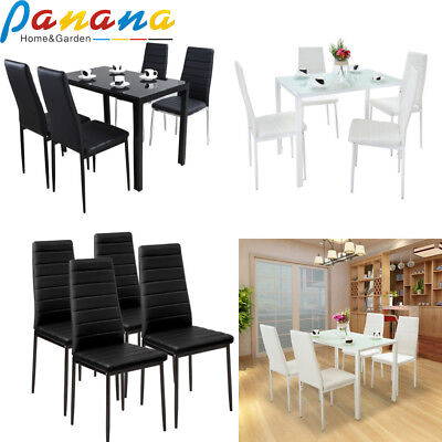 Modern Dining Room Set Table and 4 Chairs Black/White Kitchen Home Furniture UK