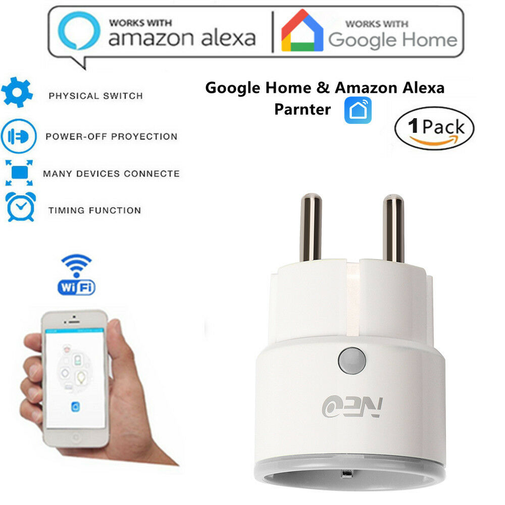 Smart WiFi Plug Outlet Switch with Echo Alexa Google Remote WiFi Network EU