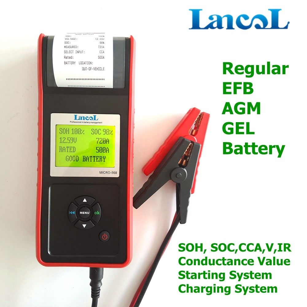 Digital CCA Car Battery Capacity Tester 12V Car Battery Analyzer with Printer