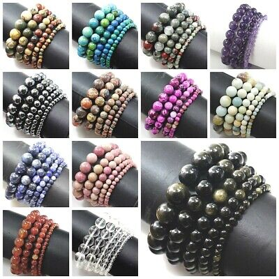 Natural Gemstone Round Bead Bracelet Elastic Bangle wholesale 4mm 6mm 8mm 10mm](Blue Bead Bracelet)