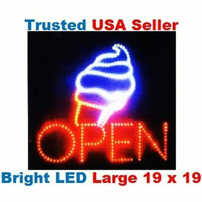 Large Open Ice Cream Cone Yogurt Signs Led Neon Business Motion Light Sign. With