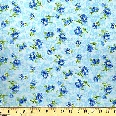 Anna Blue Print Fabric Cotton Polyester Broadcloth By The Yard 60