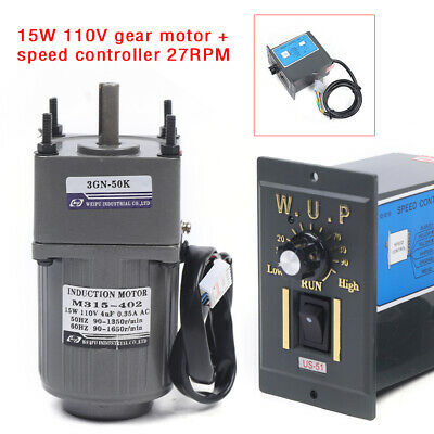 15w Ac110v Gear Motor Electric Variable Speed Controller 150 27rpm Reversible