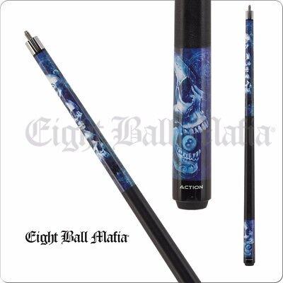 Eight Ball Mafia- Blue Stacked Skulls - 2 PC House Bar Billiard Cue Sticks