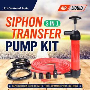 Hand Siphon Fuel Oil Diesel Petrol Liquid Water Extractor Transfer Pump Tool Kit