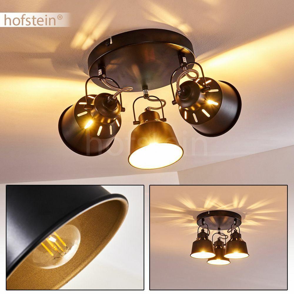 Vintage Decken Lampe schwarz-gold Wohn Schlaf Raum Leuchte Flur Dielen Strahler