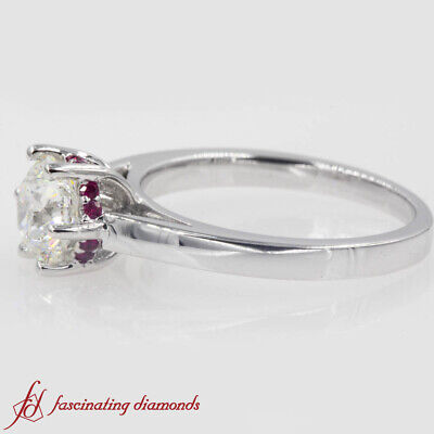 1 Ct Round Cut Diamond Plain Cathedral Engagement Ring Ruby Accents SI2 GIA 1