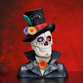 Skeleton Skull Bust Halloween Ornament LED Eyes Quality Item 'Day of the Dead' BNIB