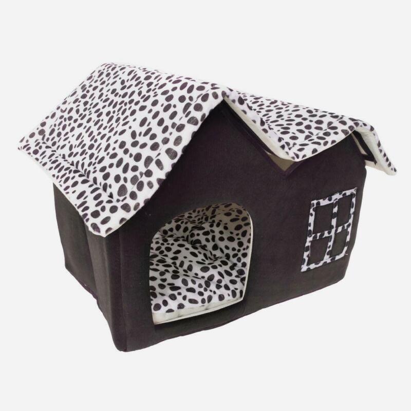 New Winner Pet Cat Dog House Kennel Sleeping Bed Super Soft British M Coffee