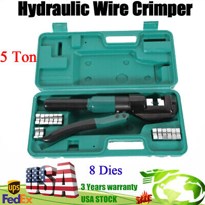 Hydraulic Pliers 5t Wire Battery Cable Lug Terminal Crimper Hand Tool With Dies