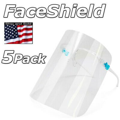 5 Pcs Face Shield Reusable Full Face Mask Cover Glasses Anti Splash Safety