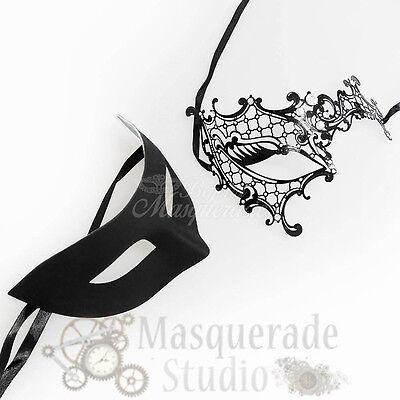 Couples Black Minimalist and Black Phantom Costume Party Masquerade Mask - Black Phantom Mask