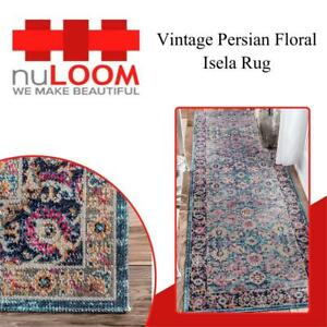 NEW nuLOOM Vintage Persian Floral Isela Rug, 26 X 8, Blue Condtion: New