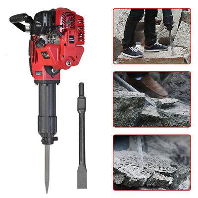 1700w Demolition Jack Hammer Gasoline Concrete Breaker Punch 2 Chisel Bits 52cc