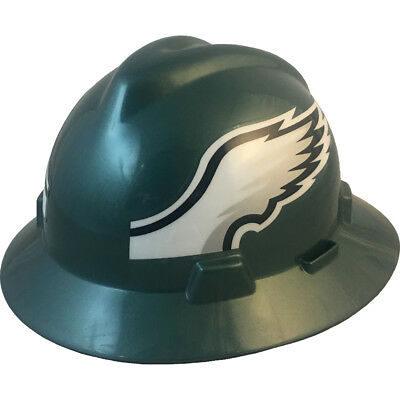 Msa V-gard Full Brim Philadelphia Eagles Nfl Hard Hat Type 3 Ratchet Suspension