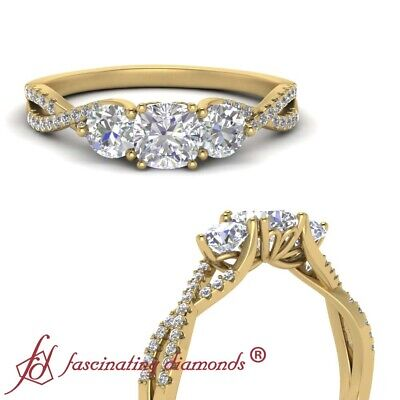 1 Carat Cushion Cut Diamond Trellis 3 Stone Engagement Ring In 18K Yellow Gold