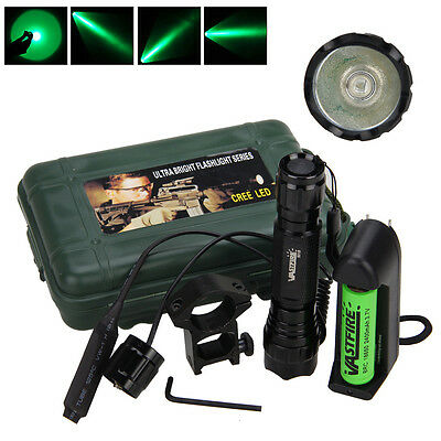Military Tactical 5000LM Q5 Green LED Hunting Flashlight Rifle Mount Light 18650 (Rifle Light Mount)