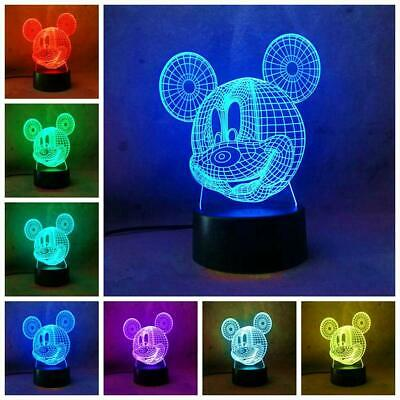 3D LED Disney Mickey Mouse Lamp USB 7 Color Change Night Light Decor Kids -