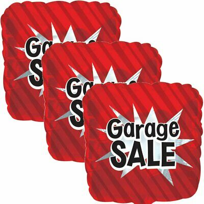 3 pc Red Garage Sale Starburst Square Store Promotional Foil Balloon Re-Usable - Balloon Stores