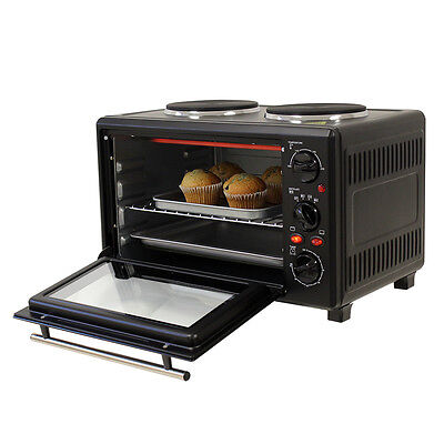 23L PORTABLE ELECTRIC STAINLESS STEEL COUNTERTOP OVEN CARAVAN BOAT 2 HOTPLATE...