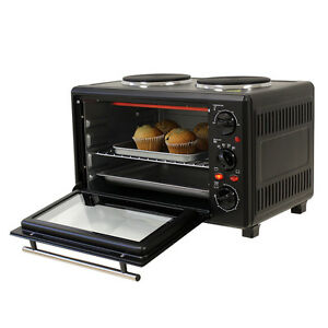23L PORTABLE ELECTRIC STAINLESS STEEL COUNTERTOP OVEN CARAVAN BOAT 2  HOTPLATE.