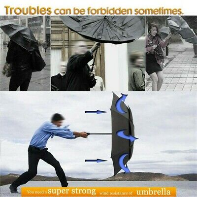 UK Large Umbrella Men/Women 3 Folding Windproof Anti-UV Rain Umbrella 2 Layers
