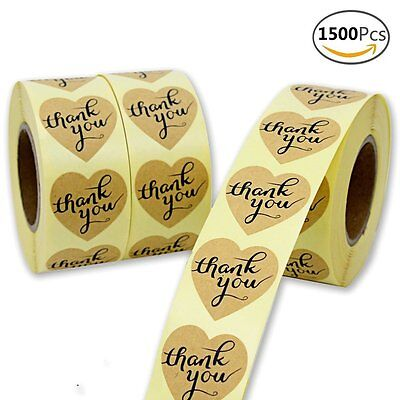1500pcs Paper Sticker Heart-shaped Thank You Self Adhesive Craft