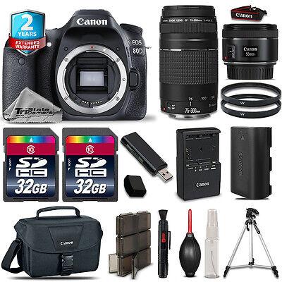 Canon EOS  80D DSLR Camera + 50mm STM 1.8 + 75-300mm + 64GB Kit + 2yr Warranty