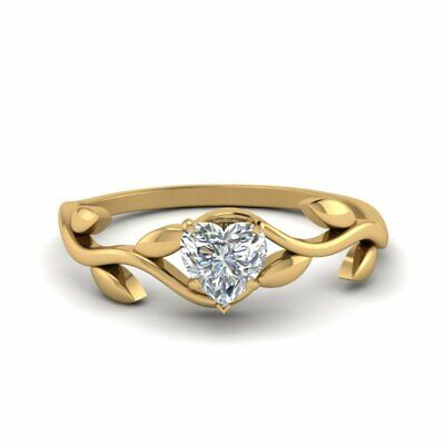 Half Carat Solitaire Heart Shaped Diamond Nature Inspired Leaf Pattern Ring GIA