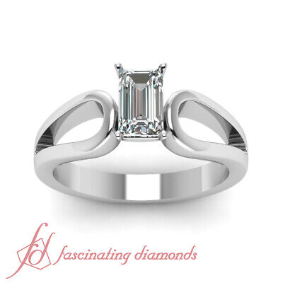 1/2 Ct Emerald Cut SI1-E Color Diamond Loop Duet Solitaire Engagement Ring GIA 1