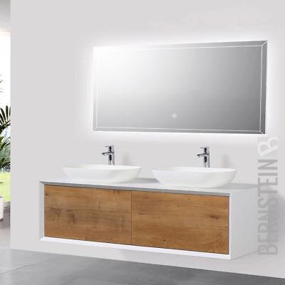Badmöbel 140 cm Eiche LED Spiegel Aufsatzwaschbecken Unterschrank Waschtisch