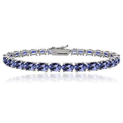 925 Silver 16ct TGW Tanzanite Oval-Shape Tennis Bracelet