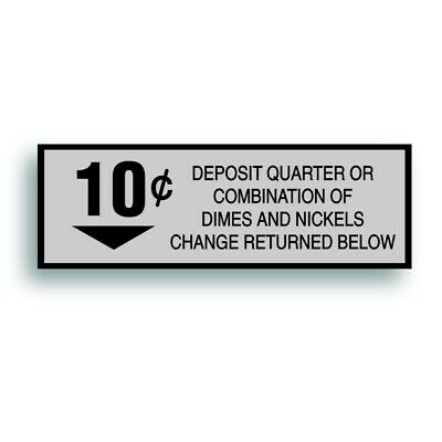 Vending Machine 10 Cent Decal Sticker Fits Soda Pop Soft Drink Coin Change Slot