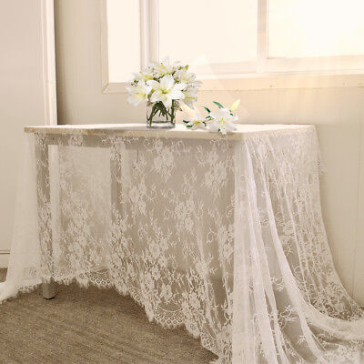 White Table Runner Vintage Wedding Tablecloth Overlay Rustic Chic Party Decor - Rustic Table Cloth