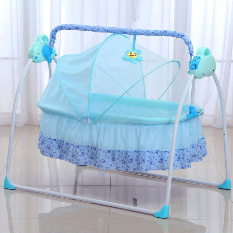 Electric Baby Cradle Crib Built-in mp3 Music+Mosquito Net+Bluetooth+Mat Blue USA