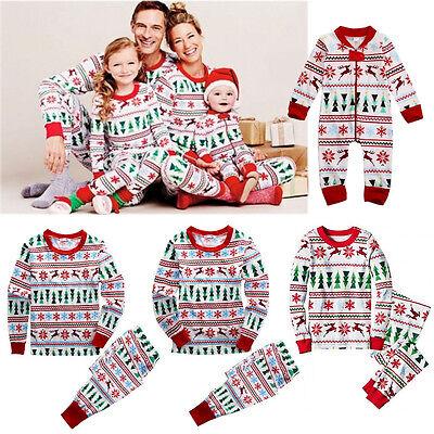 Christmas Family Pajamas Set Reindeer Adult Women Kids Baby Sleepwear Nightwear