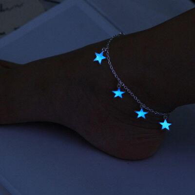 Fluorescent Star Anklet Glow In The Dark Women Foot Chain Blue Pendant Jewelry (Blue Glow In The Dark)