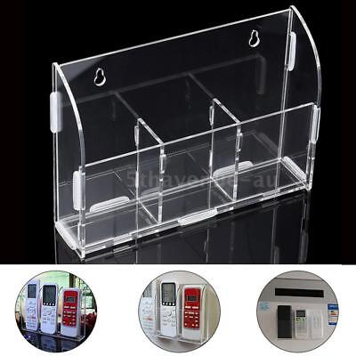 Acrylic Remote Control Holder Wall Mount Media Organizer 3 Case Storage Rack Box