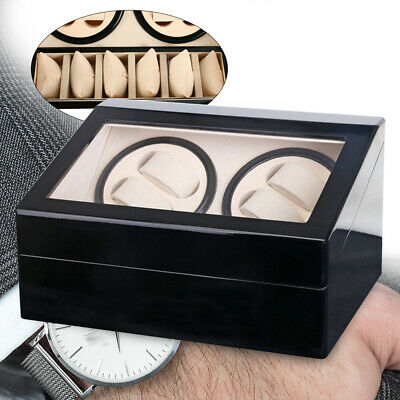 4+6 Automatic Watch Winder Display Box Soft Watch Pillows for Lady or Man Black