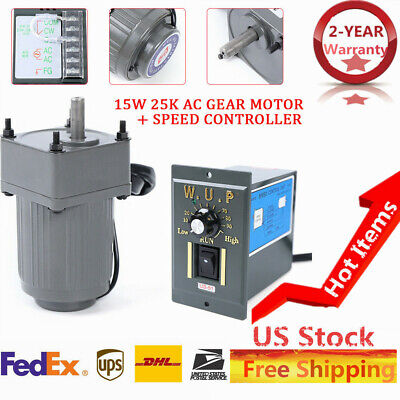New 15w Ac110v Gear Motor Electric Motor Variable Speed Controller 110 125rpm