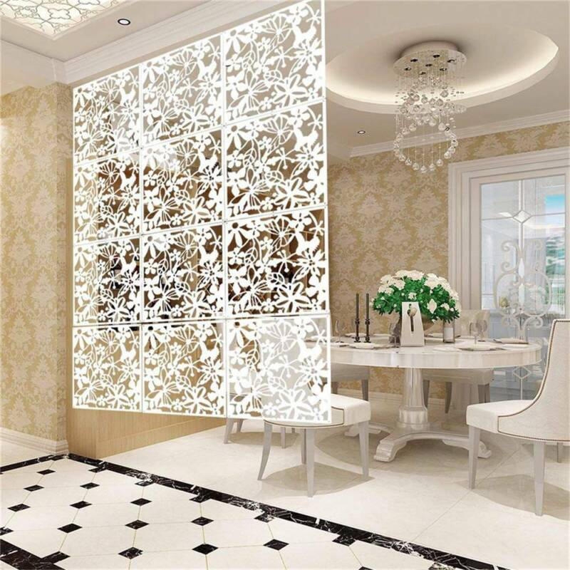 12pcs White Folding Screen Room Divider Hanging Screens Comf