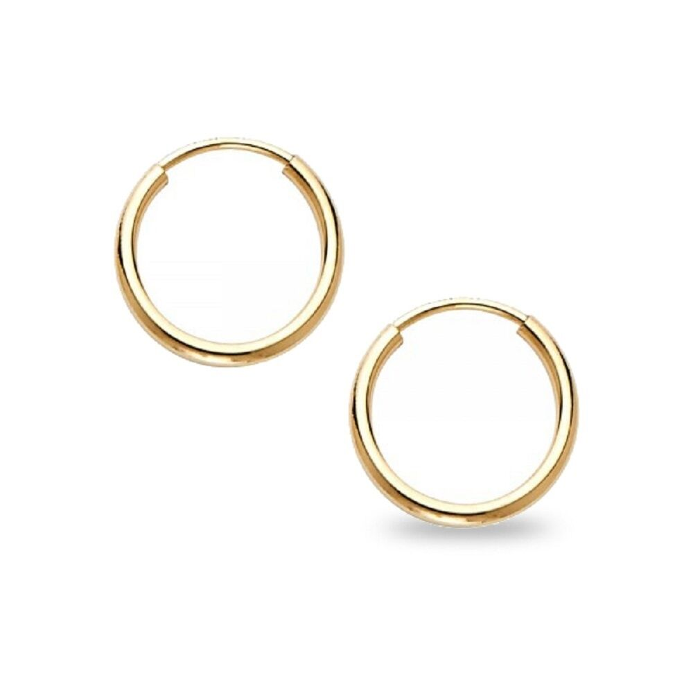 design endless hoop earrings s itm gold polished round small cut diamond yellow