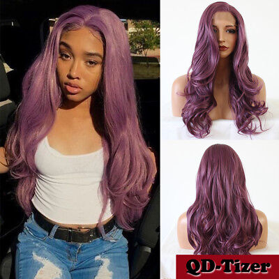 Heat Resistant Synthetic Hair Lace Front Wig Long Body Wavy Purple Color Fashion