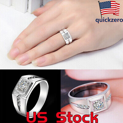US Men 925 Sterling Silver Jewelry Simple Ring Crystal Formal Wedding Engagement 925 Sterling Silver Crystal Ring