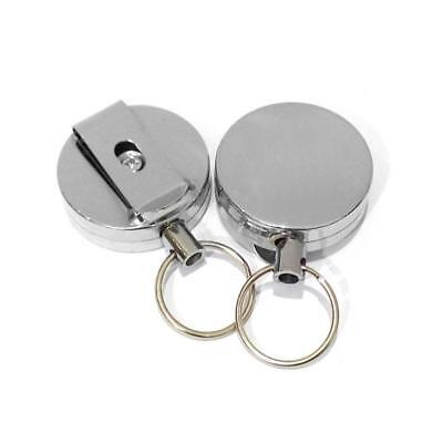 2PCS Stainless Silver Retractable Key Chain Recoil Keyring Heavy Duty Steel US