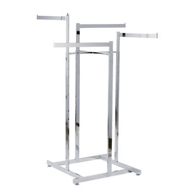 Retail Clothes Rack- Four Way Prong Clothing Garment Display- Adjustable Height