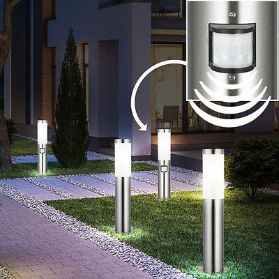 4er Set Edelstahl Steh Leuchten Einfahrt Bewegungsmelder Außen Beleuchtungen