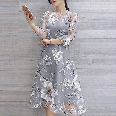 Women Summer Organza Floral Print Wedding Party Elegant Ladylike Beautiful Dress